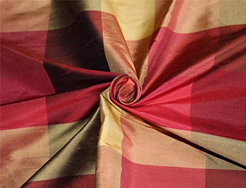 Puresilks Silk Dupioni Fabric Plaids Shades of Burgundy and Gold Color 54'' Wide DUP#C101[3]