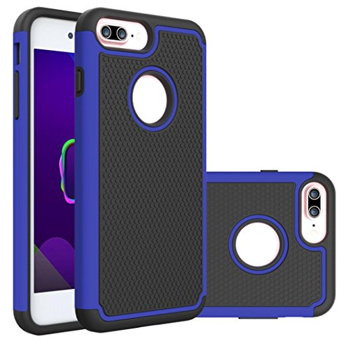 - iPhone 8 Plus Case,AutumnFall Deluxe Double Shockproof Armor TPU + PC Back Protective Cover Case For Apple Iphone 8 Plus 5.5 Inch(2017) (Blue)