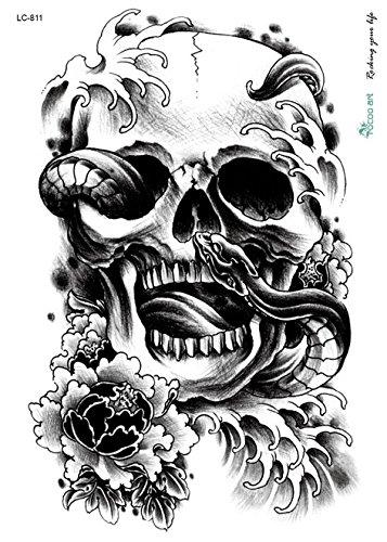 Tatouage noir bracelet Bras tatouage autocollants Tête de Mort Serpent lc811 Beyond