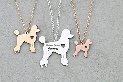 Poodle Necklace - Teacup Groomed - IBD - Personalize with Name or Date - Choose Chain Length - Pendant Size Options - 935 Sterling Silver 14K Rose Gold Filled (Poodle Size)