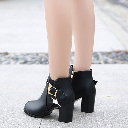 ❤ Tefamore Botas Mujer Invierno Tacones Gruesos de la Vendimia de Las Mujeres Tacones Gruesos Botines Cortos con Cremallera Botines Zapatos Mujer ...