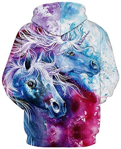 Spruzzati 3d Cappuccio Due Unicorni Divertente Plus Coulisse Sportiva Maniche Con Ocean Felpa Uomo Streetwear Multicolore Lunghe Unisex qa1nTwf4
