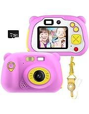 Kinderen digitale camera cadeaus voor 3-12 jaar oude meisjes, pancellent WiFi camcorder speelgoed cadeau voor jongens 12.0MP 1080P scherm en 16G geheugenkaart, kinderen met zachte siliconen hoes voor buiten spelen (roze)