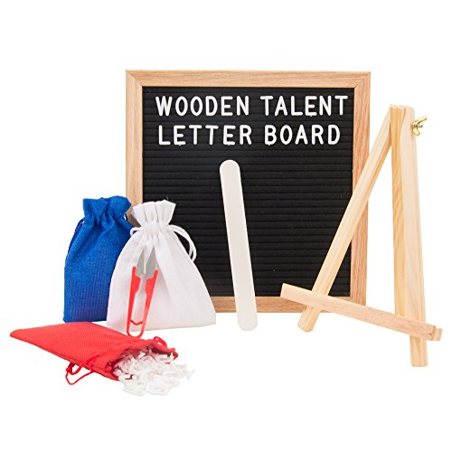 Letter Board: Black Felt 10 x 10 Inch with 290 White Letters - 3 Canvas Bags (Red, White, Blue), Wooden Stand, Trimmer, and File - Changeable Vintage Square Wood Oak - Stores El Centro
