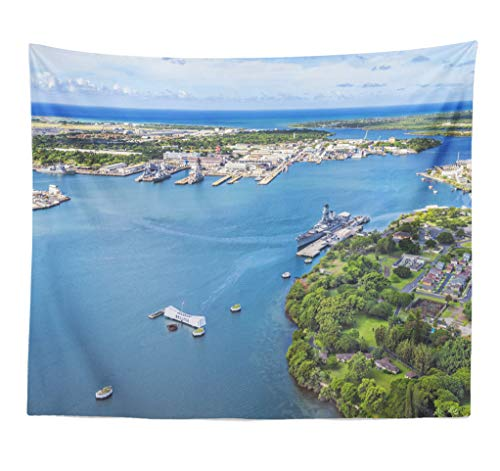 ASOCO Tapestry Wall Hanging Arizona and Island Hawaii USA Military America Boat Famous Wall Tapestry for Bedroom Living Room Tablecloth Dorm 60