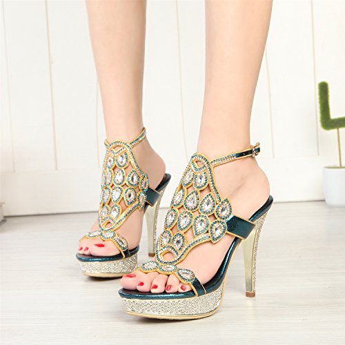 Chain Color Boots Fashion Buckle Spring Sandals Open Women's Size Crystal Sparkling Dress Party Leather for Rhinestone Blue Summer Glitter Shoes Toe 39 HUAN 6qwYWFHZH