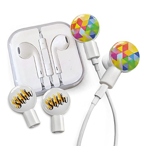 Deka Pack - dekaSlides Cell Phone Earbuds and Slide On Decal Graphics Combo Pack, Removable Earbud Decals, Geometric Rainbow and Shhh