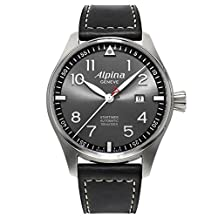Alpina Startimer Pilot Automatic Grey Dial Black Leather Mens Watch AL-525GB4S6