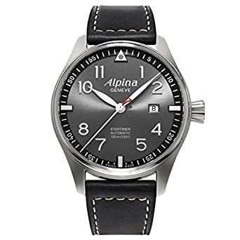 Amazoncom Alpina Startimer Pilot Automatic Grey Dial Black Leather - Alpina startimer