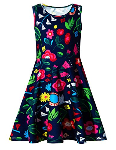 Uideazone Girls Wedding Party Sleeveless Dresses Cute Floral Sundress Age 4-5 Years