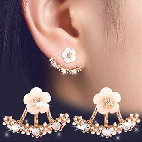 CHASIROMA Ear Jacket Front Back Ear Cuffs Stud Earring Flower Crystal Front & Back Ear Jacket Stud Daisy ()