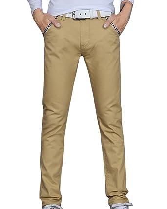 67072a42fa020d AnyuA Herren Lange Hose Bequeme Stoffhose Chino Hose Skinny Slim Fit  Stretch Kaki 38: Amazon.de: Bekleidung