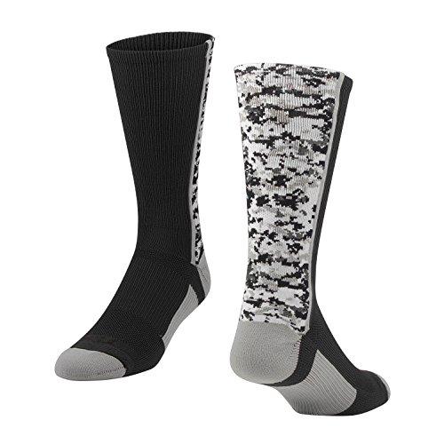 TCK Digital Camo Crew Socks (Black, Medium)
