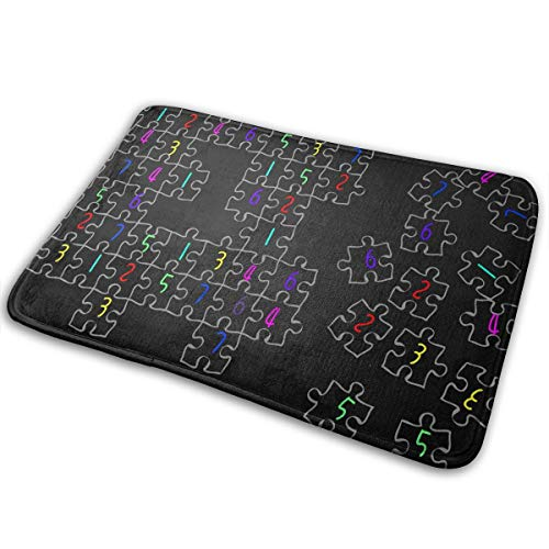 Jingclor Welcome Doormat, Entrance Floor Mat Rug Indoor Outdoor Front Door Mat with Non-Slip Rubber Backing, Printing Doormats with Sudoku Jigsaw Puzzle Pattern, 15.8''WX23.6''L