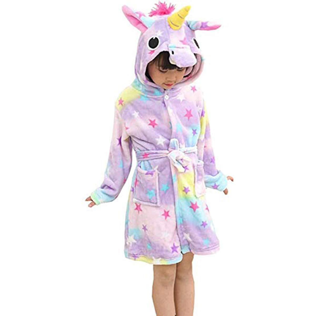 BovoYa Albornoz para ni/ños 110 Monedero 100 140 120 Albornoz de Pijama para ni/ños de Dibujos Animados Unicornio con Capucha Toalla de ba/ño de Franela Animal para ni/ños 130