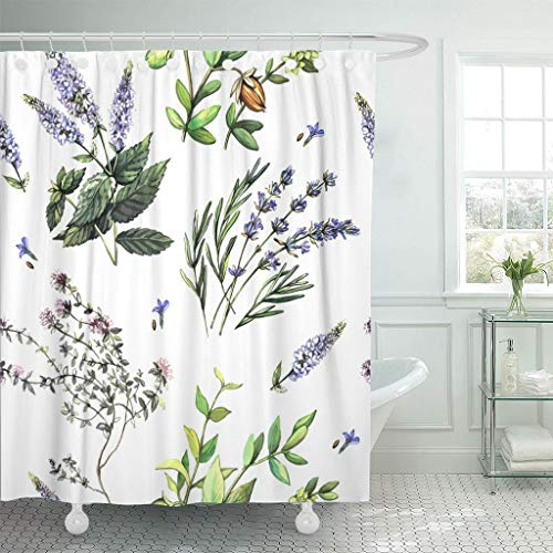 Painting Glass Patterns Reverse (Emvency Fabric Shower Curtain Hooks Green Lavender Watercolor Pattern Medicinal Plants Hand Painting Projects Oil 60