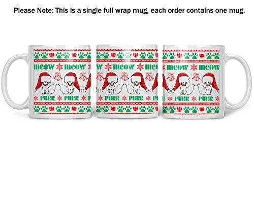 Meow Purr Wrap Around Mug - 11oz Ceramic Coffee Mug - Xmas Gift for Family and Friends - Office Secret Santa - Christmas Holiday Gifts - By CBT Mugs