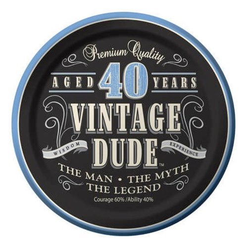 Creative Converting 8 Count Vintage Dude 40th Birthday Round Dessert Plates - Creative One Of A Kind Costumes