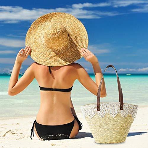 Bolsa Playa Verano iBaste Bolsa Encaje con Mujer Elegante Casual de Hombro Paja un Tejido Bolso de Solo fYYERzqw