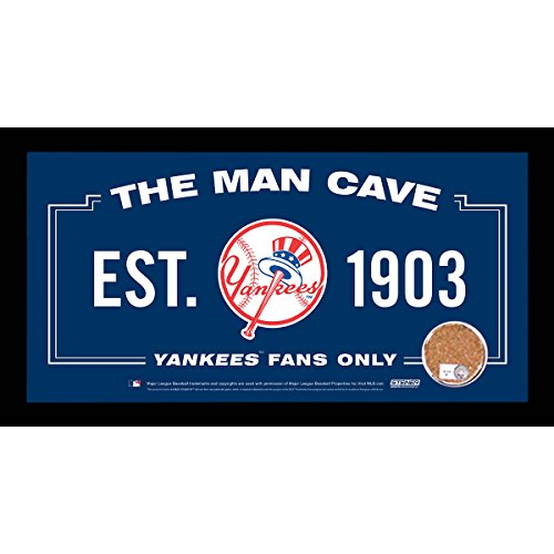Ny Yankees Sign (MLB New York Yankees Man Cave Sign 6 x 12 Framed Photo With Authentic Game-Used Dirt)