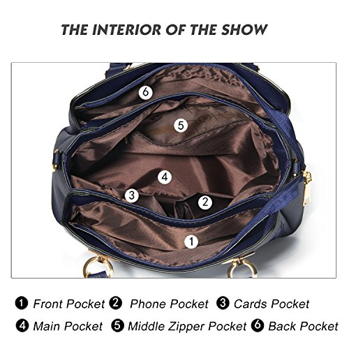 PU Womens Fashion Bags Leather Handle Royalblue Purses Tote Top Satchel Shoulder and Handbags 8w1tr8