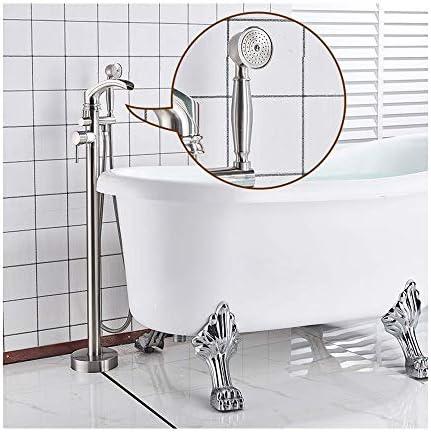 自立式バスタブの蛇口真鍮の滝浴槽フィラーセットフロアマウントシングルハンドルバスルームシャワーミキサータップハンドヘルドシャワー、温水と冷水,Brushed nickel b