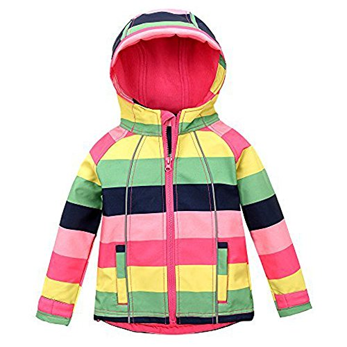 M2C Girls Hooded Fleece Lined Windproof Sweater Softshell Jacket 5T ()