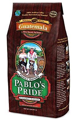 2LB Pablo's Pride Gourmet Coffee - Guatemala - Medium-Dark Roast Whole Bean Coffee - 2 Pound ( 2 lb ) Bag