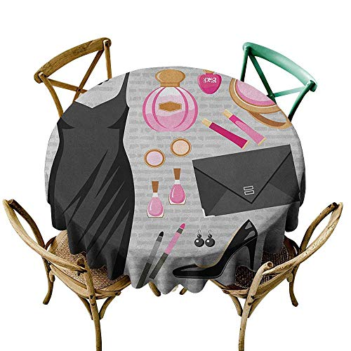 Wendell Joshua Outdoor Tablecloth 50 inch Heels and Dresses,Black Smart Cocktail Dress Perfume Make Up Clutch Bag, Black Pale Pink Pale Brown Suitable for Indoor Outdoor Round Tables