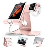 Universal 2 in 1 Desktop cell phone stand tablet stand holder,ZVE aluminum apple iwatch charging stands with iwatch case 38mm For all Smartphone,iWatch (38mm 42mm),Tablet (Up to 12.9 inch) Rose