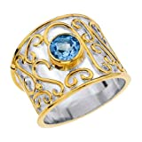 AX Jewelry Sterling Silver Cigar Band Ring With Blue Topaz (6)