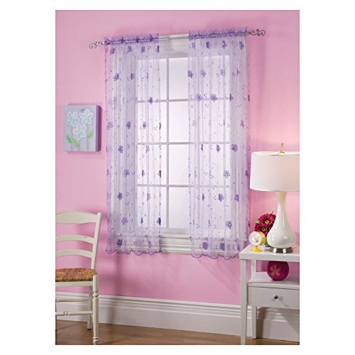 Style Selections 63-in Cailyn Purple Rod Pocket Window Curtain Panel