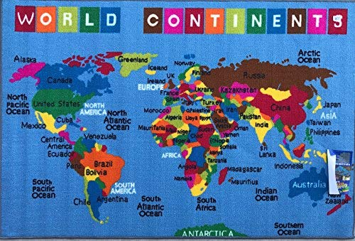 Play Time Kids Area Rug World Continent Map Reversible Learning Carpet Game Room Design 7 (5'3