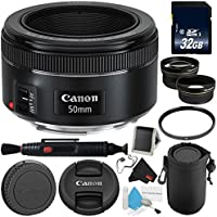 Canon EF 50mm f/1.8 STM Lens 0570C002 Professional Bundle - International Version (No warranty)