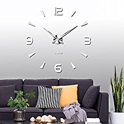 Vangold Large 3D DIY Wall Clock Modern Number Clock Frameless Mirror Surface Wall Sticker Home Décor for Living Room Bedroom Silver (2-Year Warranty)