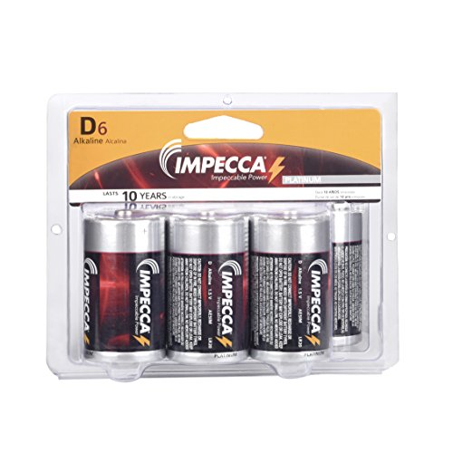 - IMPECCA D Cell Batteries, LR20 (6-Pack) Everyday All Purpose Alkaline Battery, High Performance, Long Lasting Shelf Life, and Leak Resistant, D Size Battery, 6-Count - Platinum Series