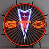 GTO Pontiac Neon Sign with Backing, Red, White and Orange Hand Blown Real Glass Tubes, Measures 24 Inches Wide by 24 Inches Tall – 5GTOBK