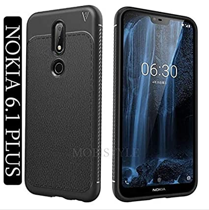 new concept 33203 48f9b Mobistyle Shock Proof Anti Slip Leather Pattern Armor Soft TPU Back Cover  For Nokia 6.1 Plus (August 2018 Launch (Black)