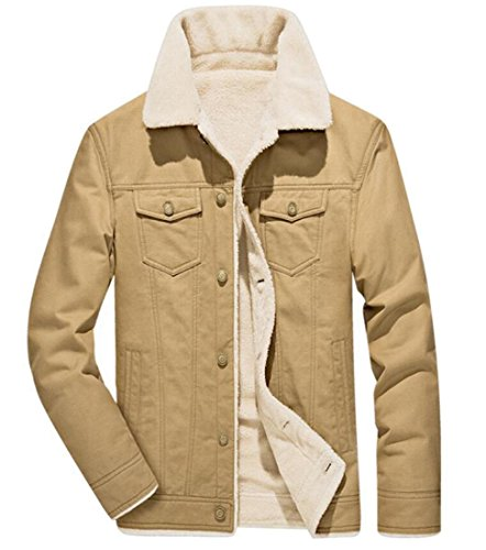 Fleece Jacket Long amp;S amp;W Khaki Down Men's Button Lined M Sleeve Winter W17c8qdvB