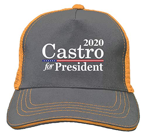 Tcombo Castro for President 2020 Twill Soft Mesh Trucker Hat (Charcoal/Neon -