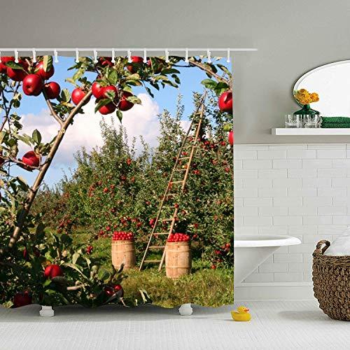 WANL Apple Orchard Shower Curtain - Decorative Fabric Bath Curtains