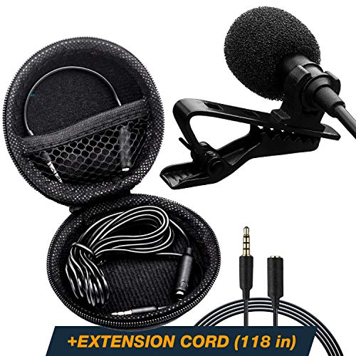 Professional Lavalier Lapel Microphone - Long Cord Lapel Mic - Iphone Microphone for Podcast YouTube Recording Interview Voice Dictation Speech - with Easy Clip-On ()