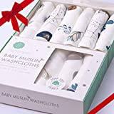 Bamboo Muslin Baby Washcloths | Organic Muslin Cotton Face Towels | Baby Wipes | Soft Bath Washcloths for Newborn with Sensitive Skin | Shower Gift for Baby Registry | 6 Pack | Extra Large...