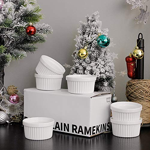 Sweese 5105 Porcelain Souffle Dishes, Ramekins - 8 Ounce for Souffle, Creme Brulee and Ice Cream - Set of 6, White by Sweese (Image #6)