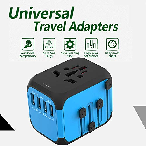 Cococart Universal Travel Adapter, All-in-one Worldwide Travel Charger Travel Socket, International Power Wall Charger AC Plug Adaptor with 4 USB Ports Multi-Nation Travel Accessories