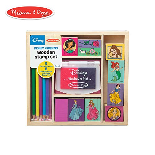 Melissa & Doug Wooden Stamp Set Disney Princesses (Arts & Crafts, Sturdy Wooden Storage Box, Washable Ink, 17 Pieces, 8.75