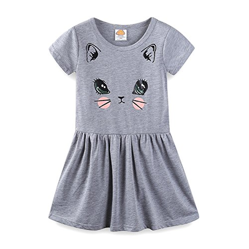 Mud Kingdom Little Girls Dresses Short Sleeve Summer Kitten Size 7 Gray