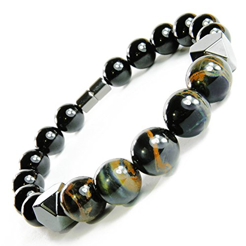 ONE ION Keeper's Tiger eye Matrix Bracelet - Hematite Black Tourmaline - Permanent Magnets (8 Inches)
