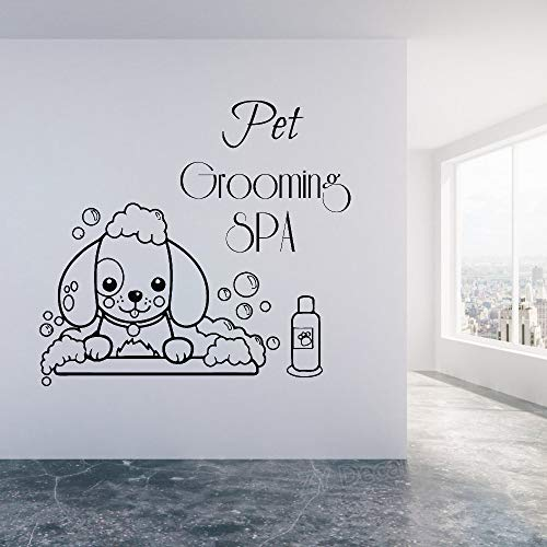 (Ksiae Lettering Words Wall Mural DIY Removable Sticker Decoration Pet Grooming Spa Pet Shop Wall Window Decor Stickers Cute Dog)