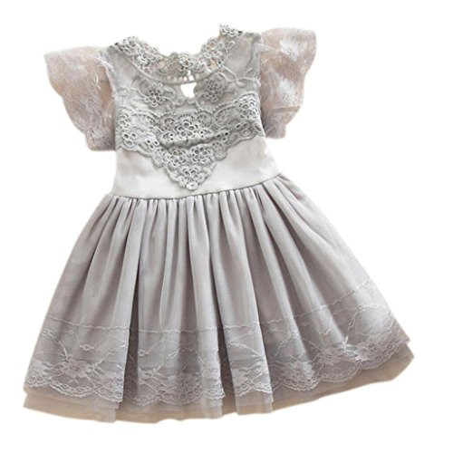 Kid Princess Dress, Misaky Flower Girl Party Tulle Lace Tutu Slip Dress (100CM(Age:2T), Gray)